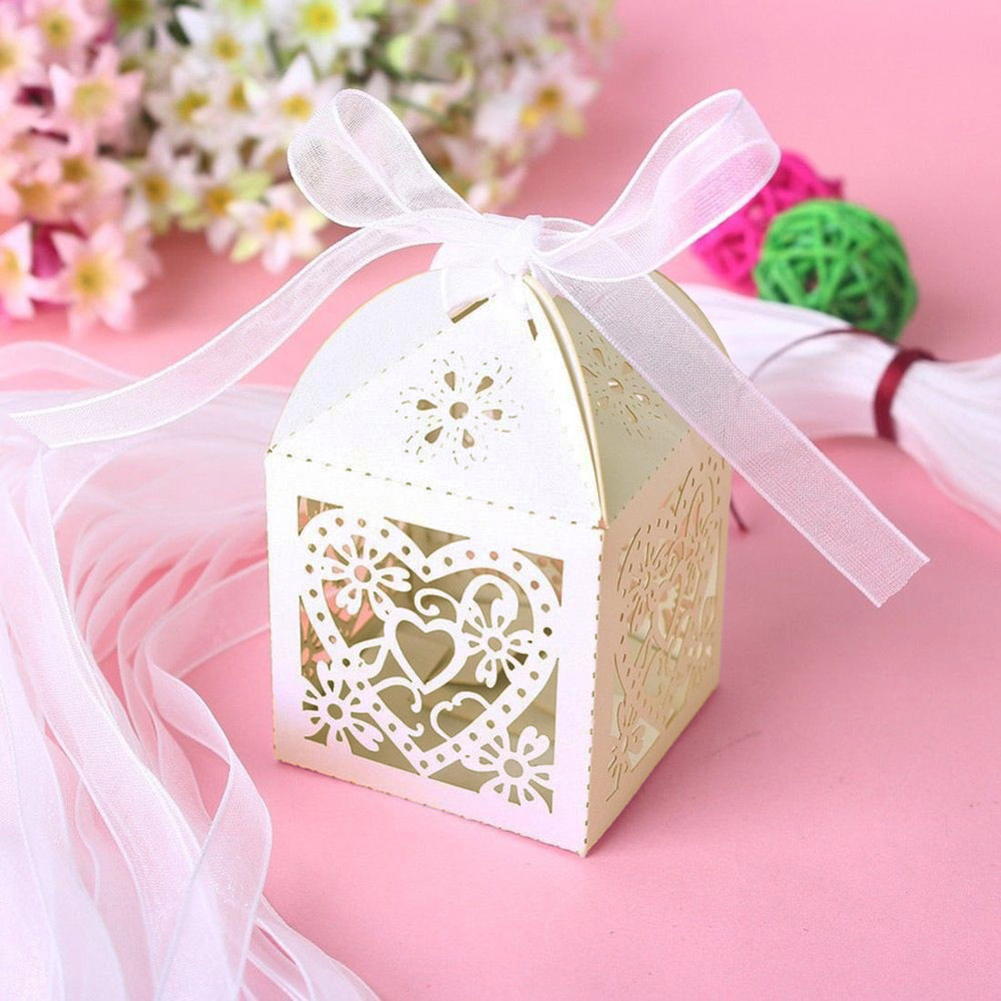 Wituse 200pcs Lot High Quality Laser Cut Wedding Favours Candy Bags Love Heart Sweets Bo Table Decors With Ribbon In Gift Wring Supplies From