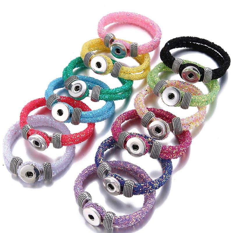 Новые модные флуоресцентные блестящие браслеты с блестками подходит для 18 мм защелкивающихся пуговиц ювелирные изделия SE0214 подарок