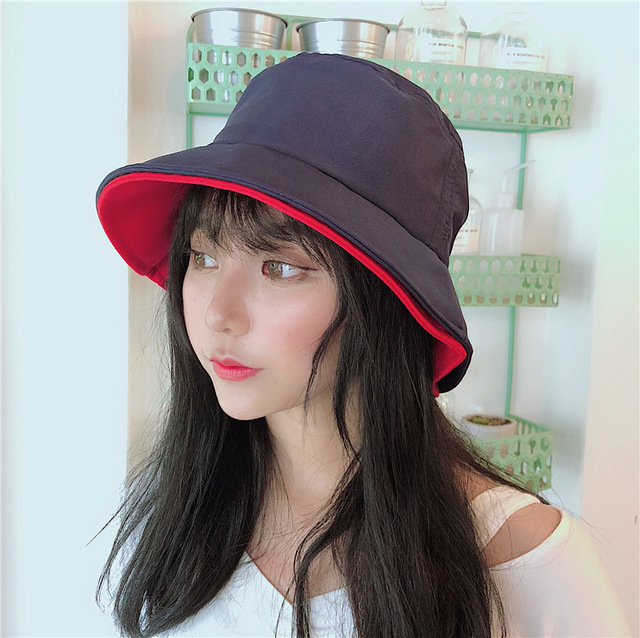 eef105085ca Korea Hit Double Brim Of A Hat Solid Color Fisherman Cap Japan System  Street Men And