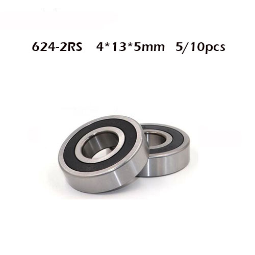 5/10PCS 624RS 624rs 624 2RS 624-2RS 624-2RS ZZ RSDeep Groove Ball Bearings 4 X 13 X 5mm High Quality 4*13*5