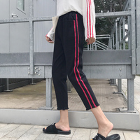 High Waist Black Jeans Woman 2016 Casual Retro Red Striped Ripped Tassel Ankle Length Denim Pants