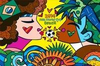 Custom Canvas Art Romero Britto Painting Wallpaper Romero Britto Poster World CUP Wall Stickers Brazil Soccer