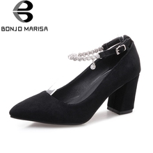 BONJOMARISA Women s Pointed Toe Chunky High Heels Pointed Toe Office Party Pumps Stiletto Shoes Woman