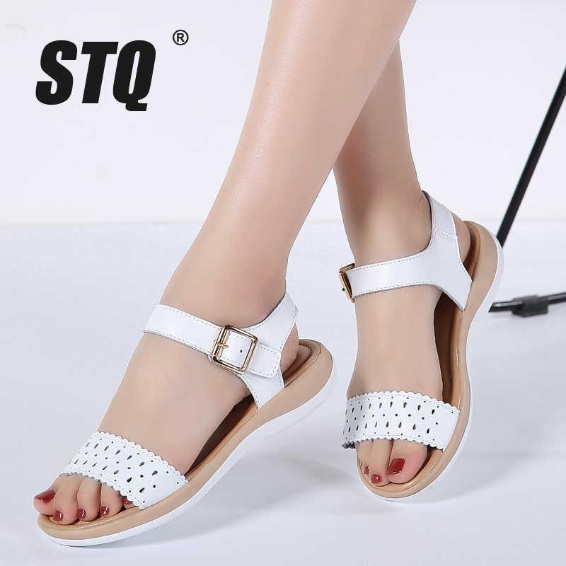 0d9c4b1f2ce8 STQ 2019 Women sandals summer genuine leather flat sandals cutout ankle  strap flat sandals female white