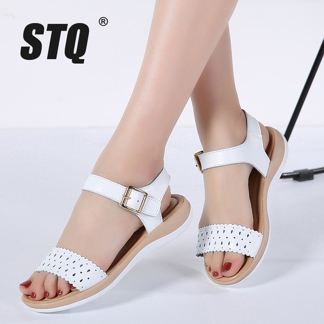 5517ece98a6 STQ 2019 Women sandals summer genuine leather flat sandals cutout ankle  strap flat sandals female white gladiator sandals 1807