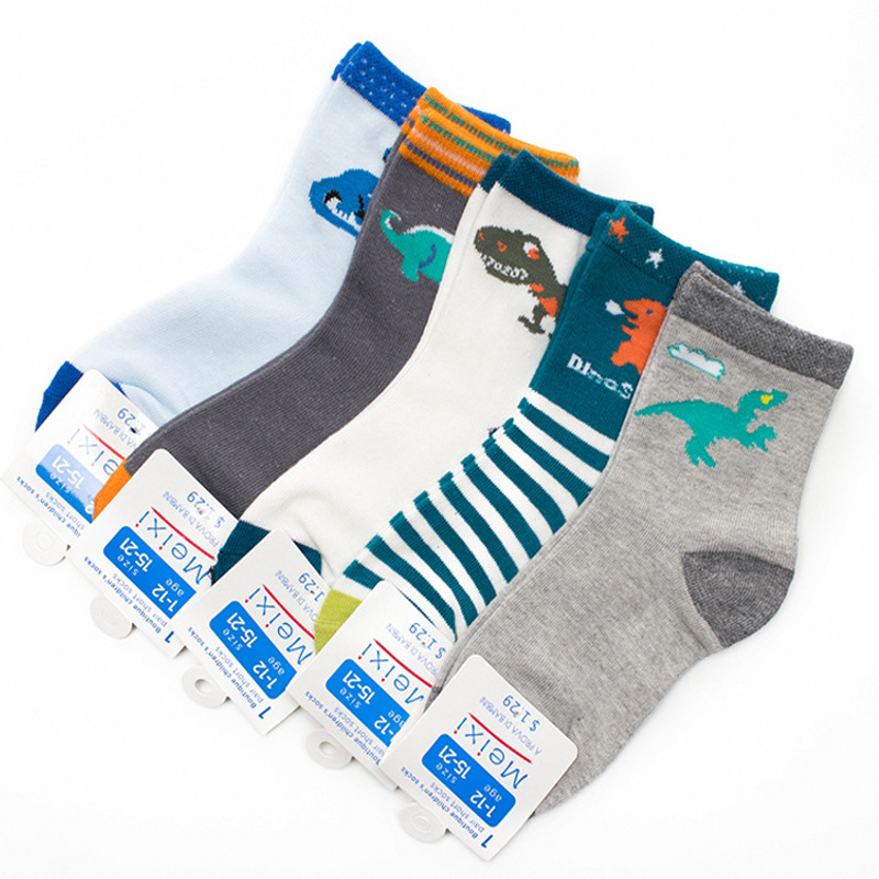 5 Pairs Children Socks Spring & Autumn New Cotton Cute Cartoon Dinosaur Pattern Boys Socks Girls Socks 2-12 Year Kids Socks