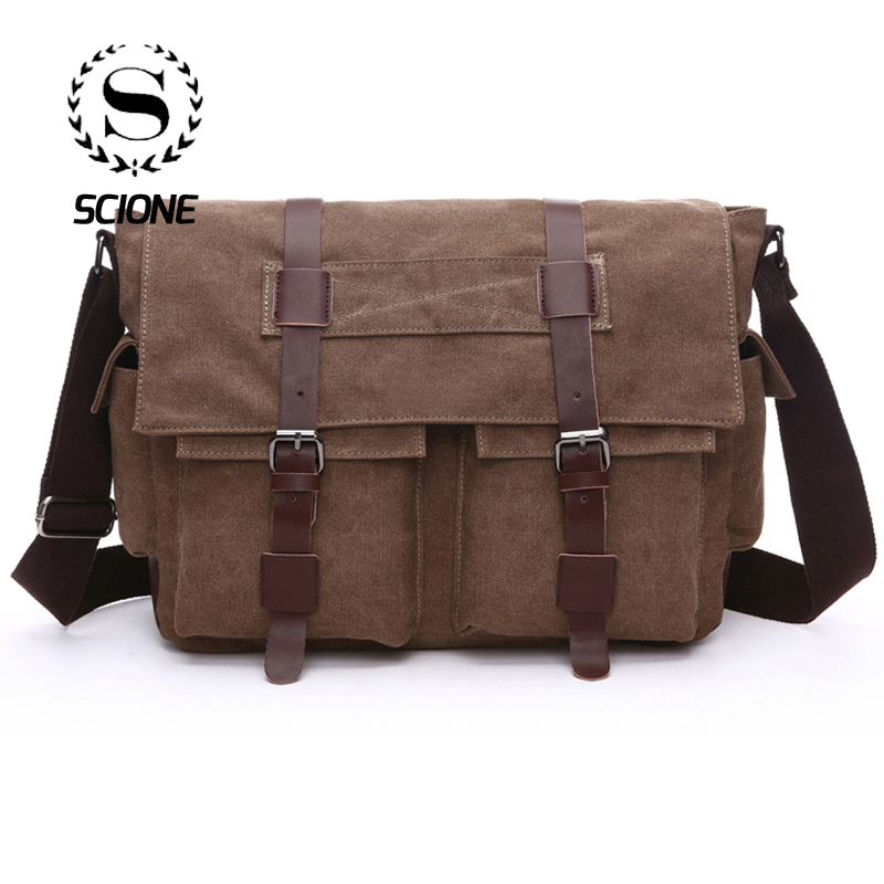 c076cee7b490 Scione Practical Business Messenger Bags For Men Student A++ Canvas Crossbody  Shoulder Pack Retro Solid Casual