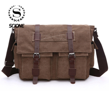 Scione Practical Business Messenger Bags For Men Student A++ Canvas Crossbody Shoulder Pack Retro Solid Casual Office Travel Bag