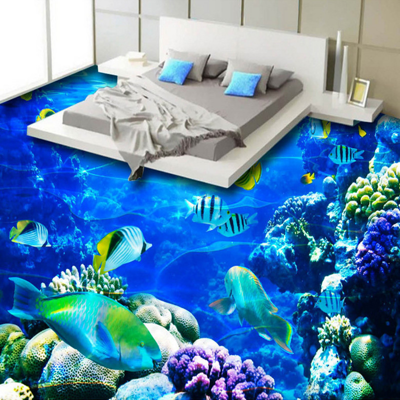 3D Wallpaper Underwater World Coral Fish 3D Flooring Mural Bedroom Bathroom Non-slip Waterproof Thickened Self-adhesive Sticker