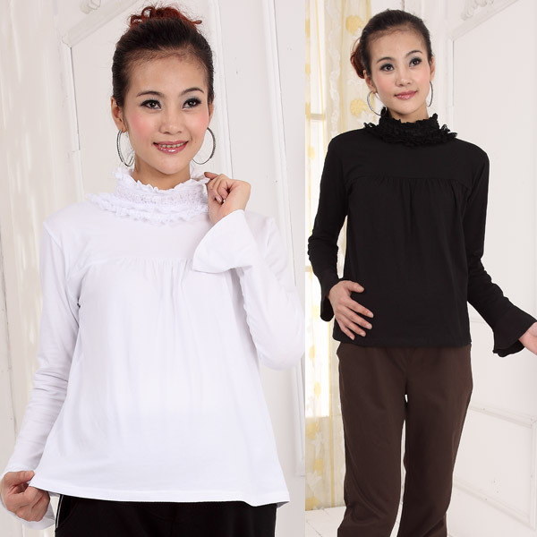 ФОТО free shipping 2016 autumn and winter maternity clothing ruffle turtleneck maternity top all-match basic shirt for pregnant women