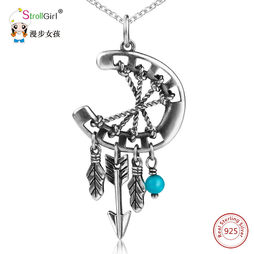 Indian Style 925 Sterling Silver Horseshoe Arrow Feather Necklace Girl Lucky U Necklaces & Pendants for Women Fashion Jewelry