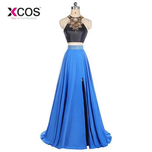 XCOS Gala Jurken Two Piece Royal Blue Crystal A Line Cheap Prom Dresses 2018 vestido formatura Evening Dress Elegant