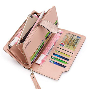 Image 3 - FOXER Cowhide Leather Wallets Card Holder Purses High Quality Long Wallet Womens Wallet Lady Zipper Clutch Bag with Wristlet