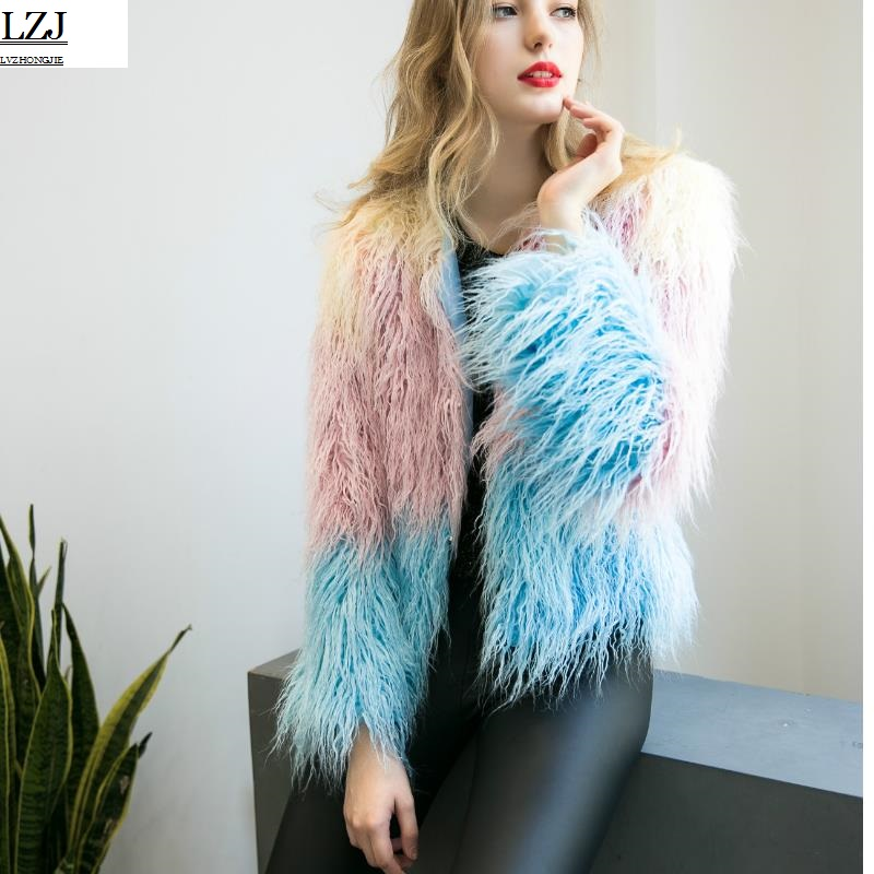 LZJ Fluffy man-made fur coat woman 2017 warm chic female jackets fight color elegant autumn winter jacket coat long-haired coat