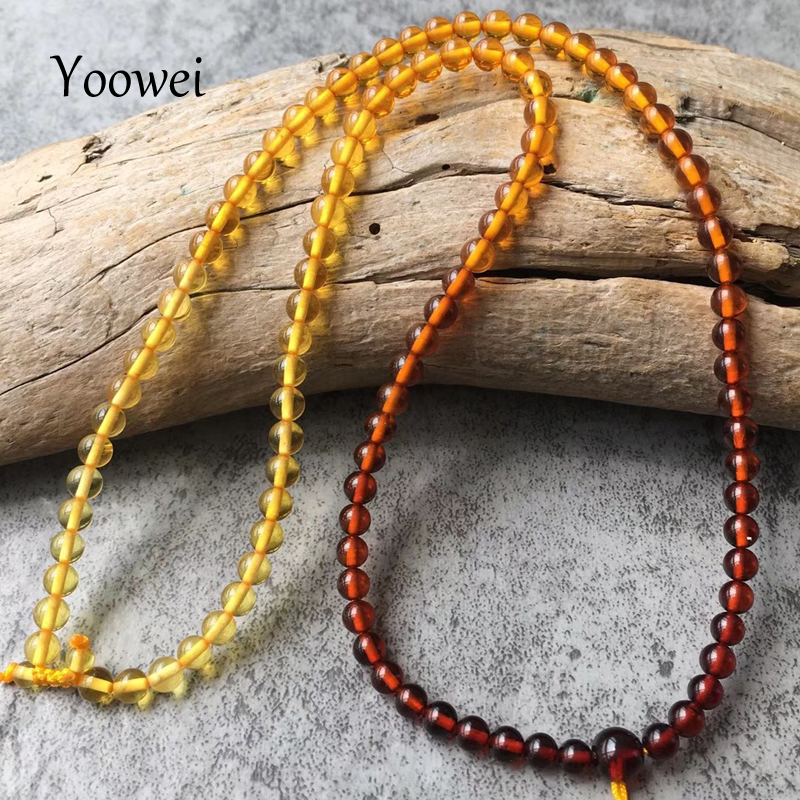 все цены на Yoowei New 4mm Rainbow Amber Necklace for Women 46cm Diy Genuine Round Beads 100% Real Natural Baltic Amber Jewelry Wholesale