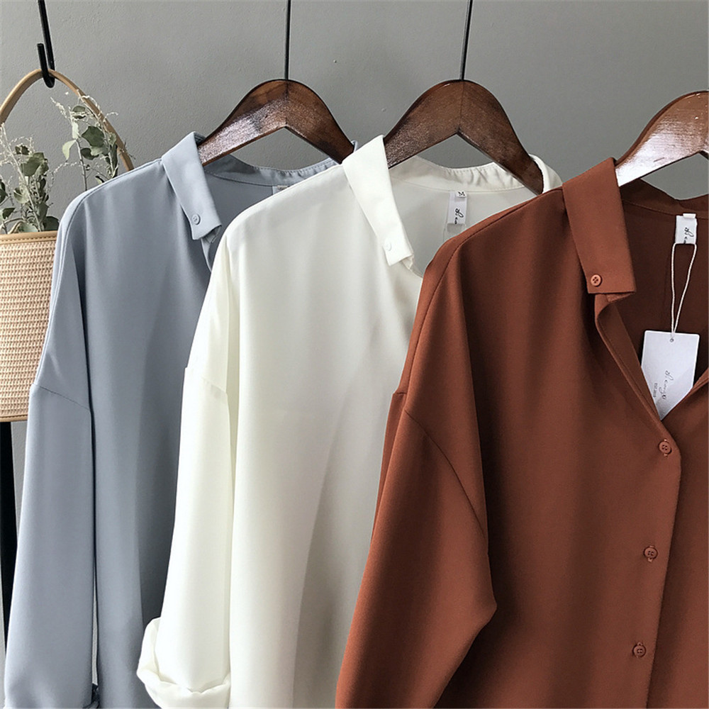 High quality Casual Chiffon white Women blouse shirt oversized Three Quarter sleeve loose shirt office wear casua tops blusas (8)