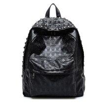 Новый череп головы Дизайн бренд Модные женские туфли Рюкзаки заклепки черный PU кожаная сумка ранцы для девочек Женский Досуг сумка Mochilas