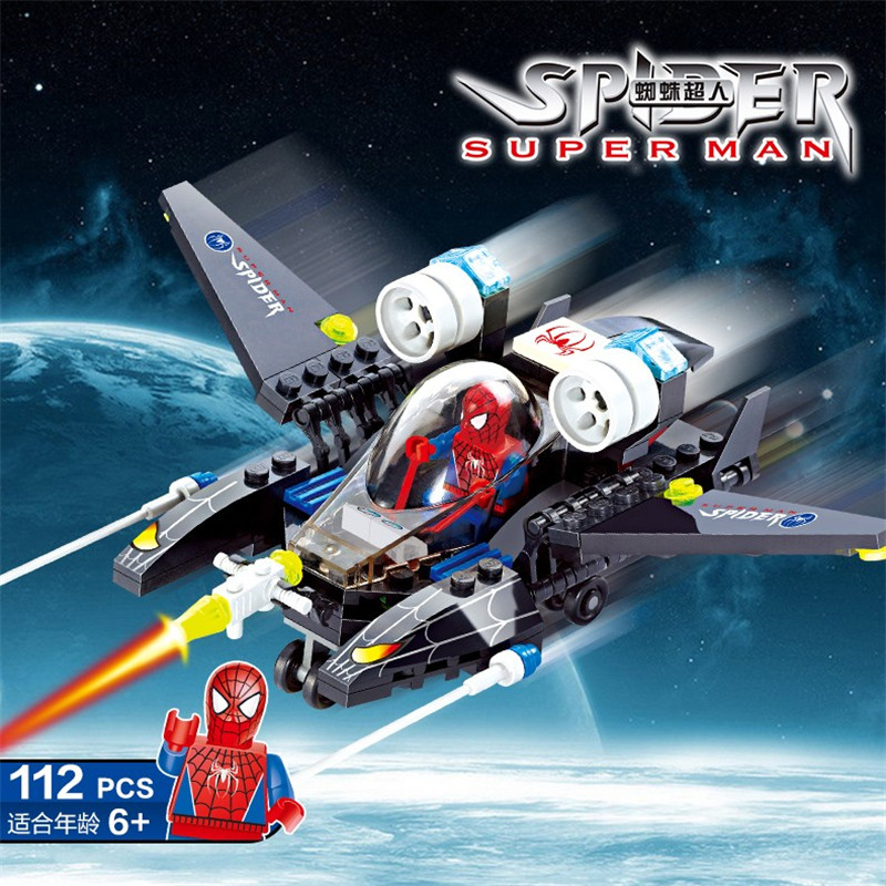 112Pcs Super Heroes Spiderman Fighter Compatible LegoINGs Building Blocks Figures Creator Bricks Educational Toys for Children single sale super heroes doctor strange iron man captain america spiderman bricks building blocks children gift toys xh 825