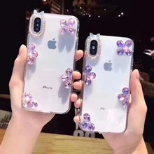 XINGDUO Transparent case cover for iphone 5 5s 6 6s 7 8 plus Glitter Crystal flowers Rhinestone Case X XS XR MAX