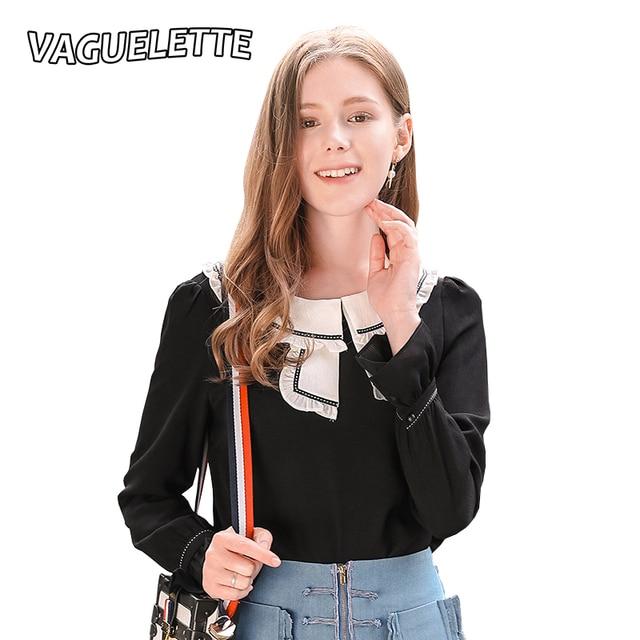 Casual Chiffon Blouse Women Black Shirt White Collar Long Sleeve ...
