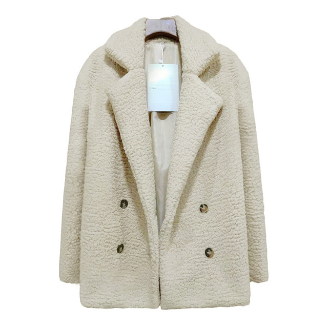 Solid Coat Women Autumn Spring Wide Lapel Loose Warm jacket Outwear Female Casual Jumper Ladies Loose Blend Coat Faux fur Ladies 5