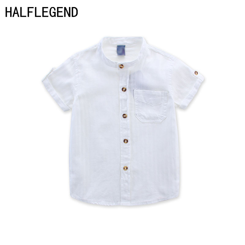 New 2018   shirt   for boys summer children's clothing white   blouse   for boy 2-3-4years Boys   shirt   casual clothes for boy 10-12years