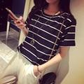 Las mujeres de corea rayas medio estilo tumblr poleras roupa feminina camiseta femme ropa para mujer camisetas camisetas mujer camiseta