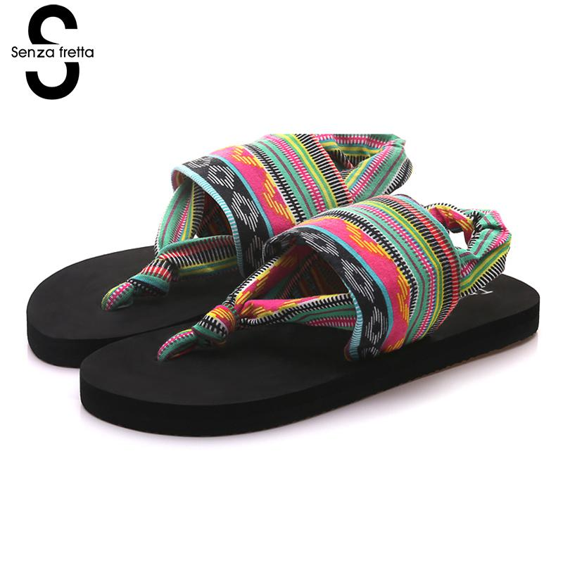 Senza Fretta New Women Shoes Flip Flops EVA Breathable Flip Flops Summer Bohemian Style Women Cloth Belt Flip Flops Women Shoes фоторамка senza 20х25 см хром 956444