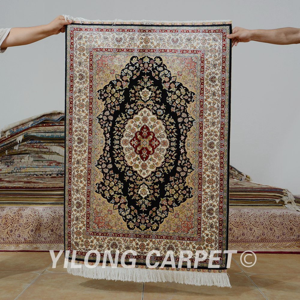 Yilong 2.7 'x4' tapis de soie persan noir vantage exquis traditionnel fait main Tabriz tapis de soie (0539)