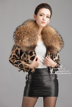 New Genuine Leather Jacket Women's Sheepskin Leather Coat with Ultra large Raccoon Fur Collar leopard coat EMS Free sipping