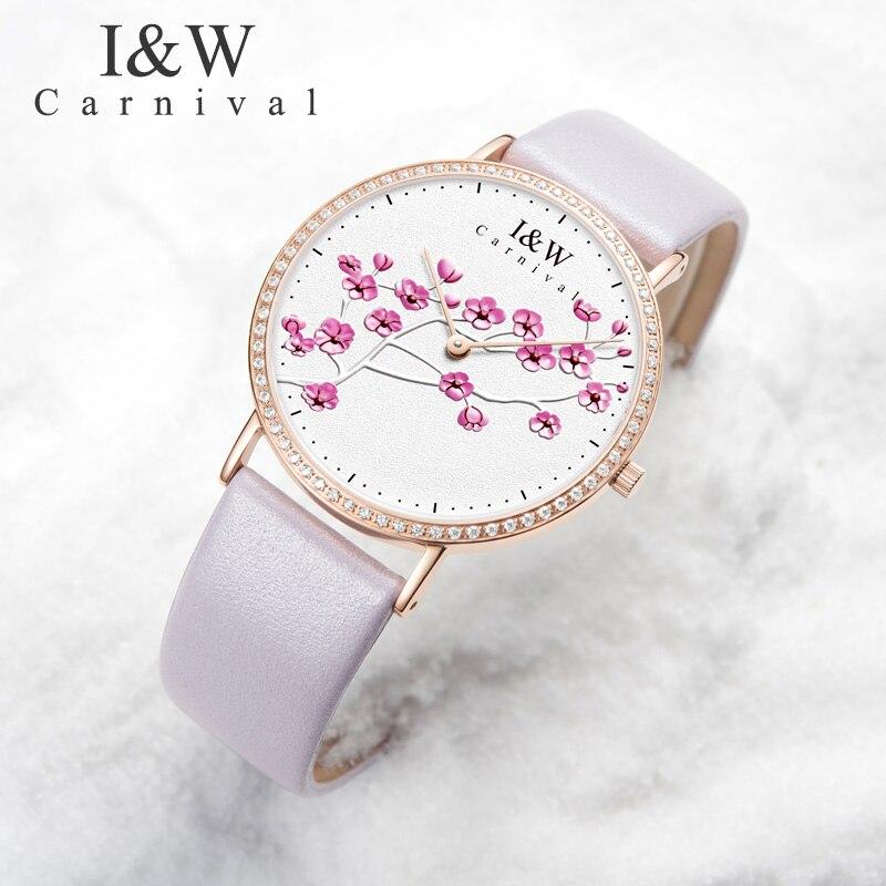 Карнавальные часы женские модные платье со стразами розовые кожаные женские часы Relogio Feminino роскошные изысканные женск