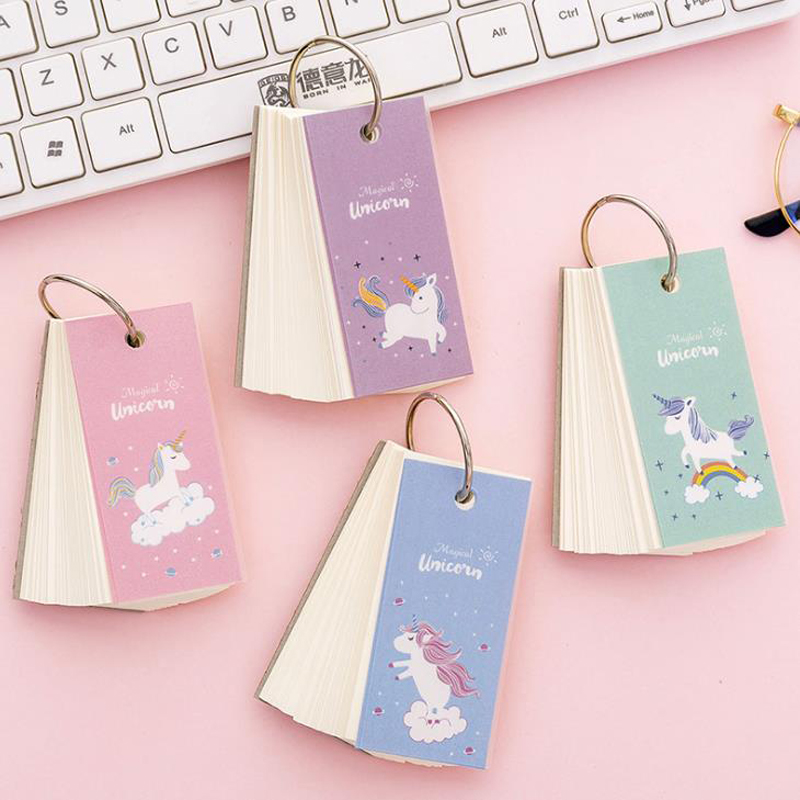 1 Pcs Cartoon Mini Animal Rainbow Unicorn Ring Buckle Blank Word Book Paper Notebooks Stationery Vocabulary Book Card Gifts