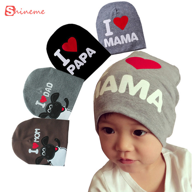 1788c92b49c cute quality soft Newborn Baby Hats Cotton Beanie Photography Props kid  Costumes Knitted I LOVE MOM DAD children Caps for Boys