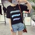 Harajuku Nova Verão Moda Tamanho Grande T-shirt Feminina 2017 Bonito três Barras Coloridas Letra Impressa Solto T camisa Mulheres Senhora topos