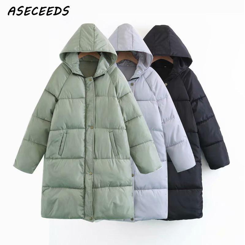 Autumn winter Hooded Padded   parka   women down jacket female loose zipper overcoat oversize outwear casual warm long coats 2018