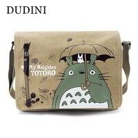 DUDINI Totoro Crossbody Bag Unisex Messenger Bags Canvas Shoulder Bag Cartoon Anime Neighbor Men Women School