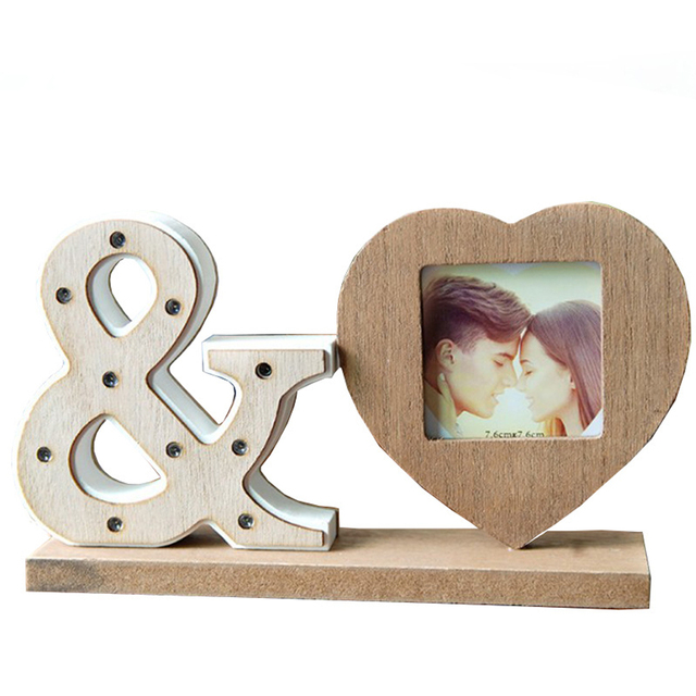 Home Decor Desktop Heart Shape Party Birthday Bedroom Gifts With Night Light Wedding Photo Frame Wooden Living Room Lovely
