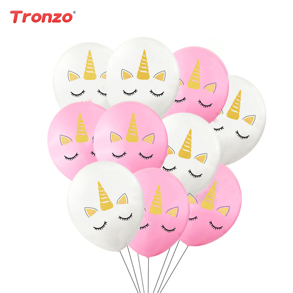 Tronzo Unicorn Balloon Event Party Happy Birthday Baby Shower 10pcs Latex Balloons Wedding Decoration Pink