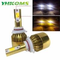 YHKOMS Araba LED far 9005 HB3 9006 HB4 LED H4 H7 H8 H11 H1 H3 H27 Oto Sis Işık 76 W 9600LM 6000 K 3000 K Çift Renkli Lamba 12 V