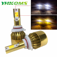 YHKOMS Car LED headlight 9005 HB3 9006 HB4 LED H4 H7 H8 H11 H1 H3 H27 Auto Fog Light 76W 9600LM 6000K 3000K Dual Color Lamp 12V