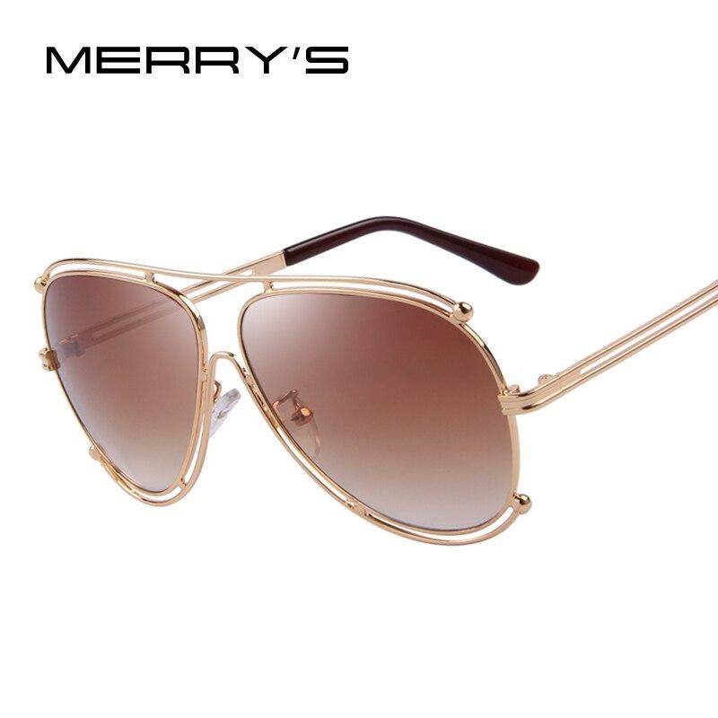 62c49762d7e33 MERRY S Moda Mulheres Revestimento de Óculos De Sol Dos Homens Designer de  Marca Óculos De Armação De Metal Plana Espelho Lens UV400