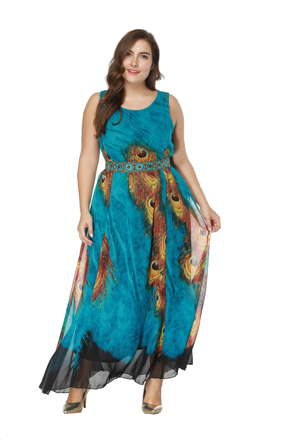 new arrival summer long <font><b>dress</b></font> <font><b>plus</b></font> <font><b>size</b></font> 7XL <font><b>8XL</b></font> Chiffon Maxi <font><b>Dress</b></font> blue color printed beach <font><b>dress</b></font> sundress image