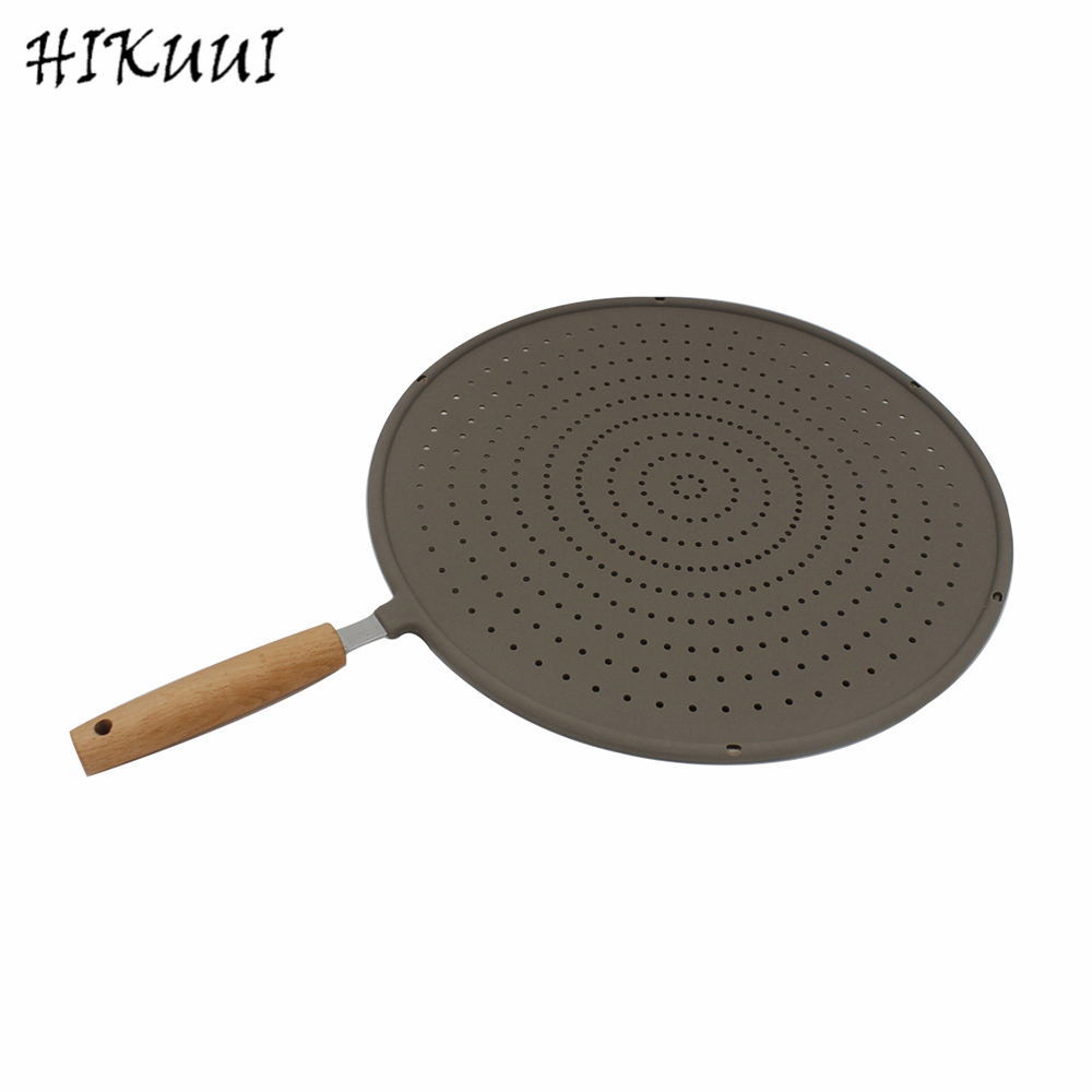 Silicone Oil Fliter Tools Stainless Steel Plate Oil Separating Mesh Wooden Handle Kitchen Cooking Tools