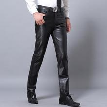 Зимние новые облегающие мужские повседневные штаны из натуральной кожи мужские goatskin ветрозащитные теплые кожаные брюки мотоциклетные кожаные брюки