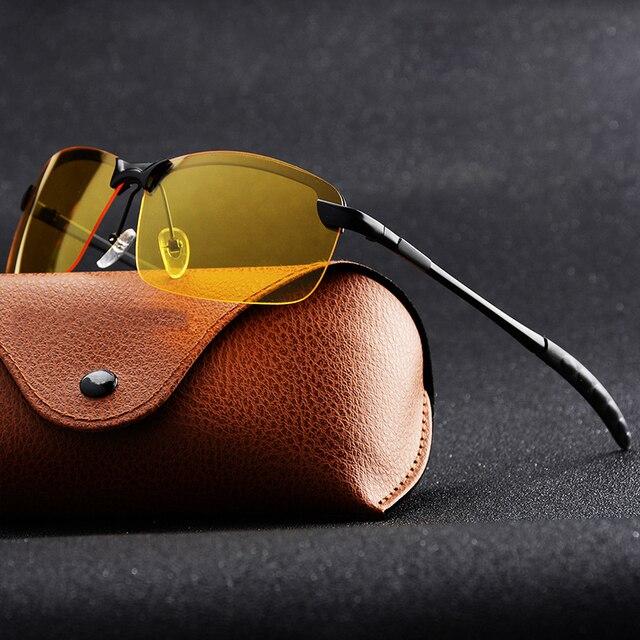 Dia visão noturna óculos de sol polarizados masculinos anti glaring noite condução óculos de sol amarelo lente óculos de moda