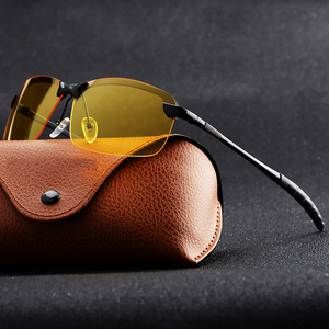 Image 1 - Gündüz gece görüş erkekler polarize güneş gözlüğü Anti Glaring gece sürüş güneş gözlüğü sarı Lens gözlük moda gözlük
