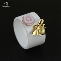 Lotus Fun Real 925 Sterling Silver Natural Handmade Fine Jewelry Ceramics Ring Cute Bee Kiss From