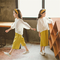 Cotton Wide leg pants sets 2 pieces girl summer clothes 2019 linen casual suits for teenage girl 10 12 14 year
