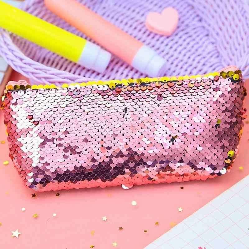 Новый пенал цвет двусторонние пайетки школьные принадлежности милые канцелярские подарок студент ежедневно школьные принадлежности Estuche Para Lapices