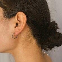 Simple Punk C Shape Metal Gold Hoop Earrings for Women 2019 Fashion Casual Small Loop Earrings metal tassels simple triangular small earrings